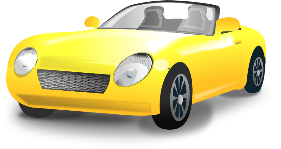 Yellow Convertible Sports Car Clipart png free, Yellow Convertible Sports Car transparent png