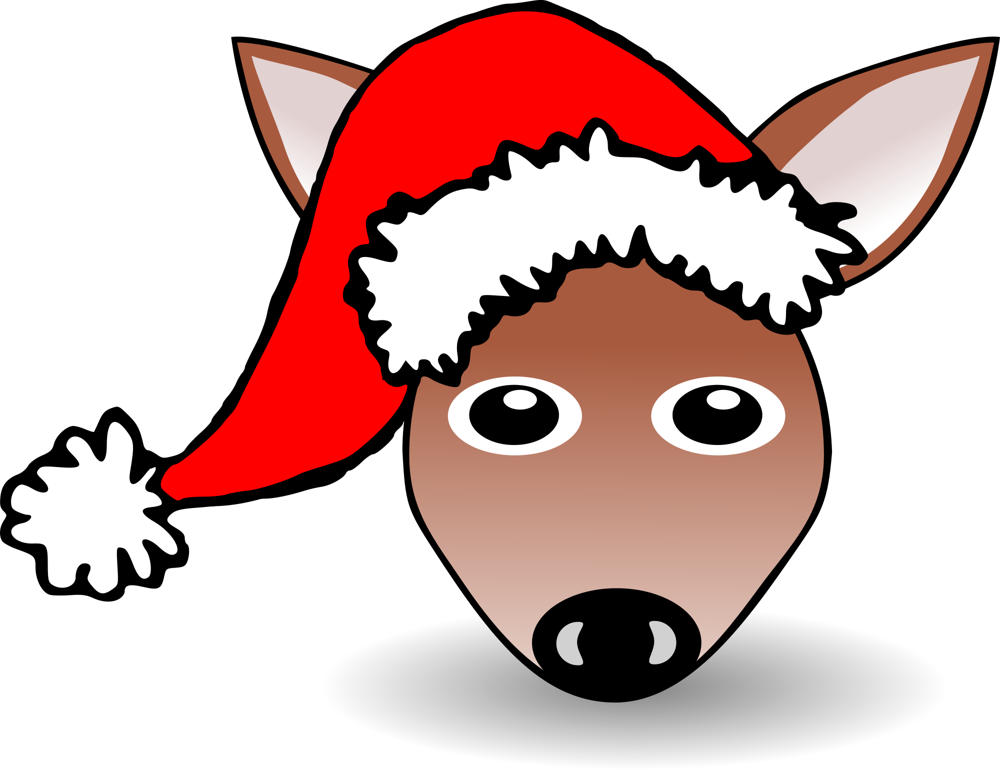 Funny Fawn Face Brown Cartoon With Santa Claus Hat Clipart png free, Funny Fawn Face Brown Cartoon With Santa Claus Hat transparent png