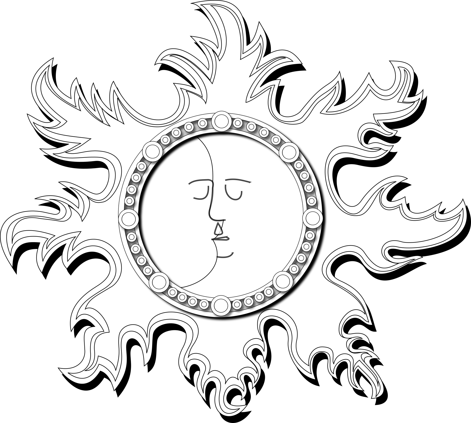Sun And Moon Outline Clipart png free, Sun And Moon Outline transparent png