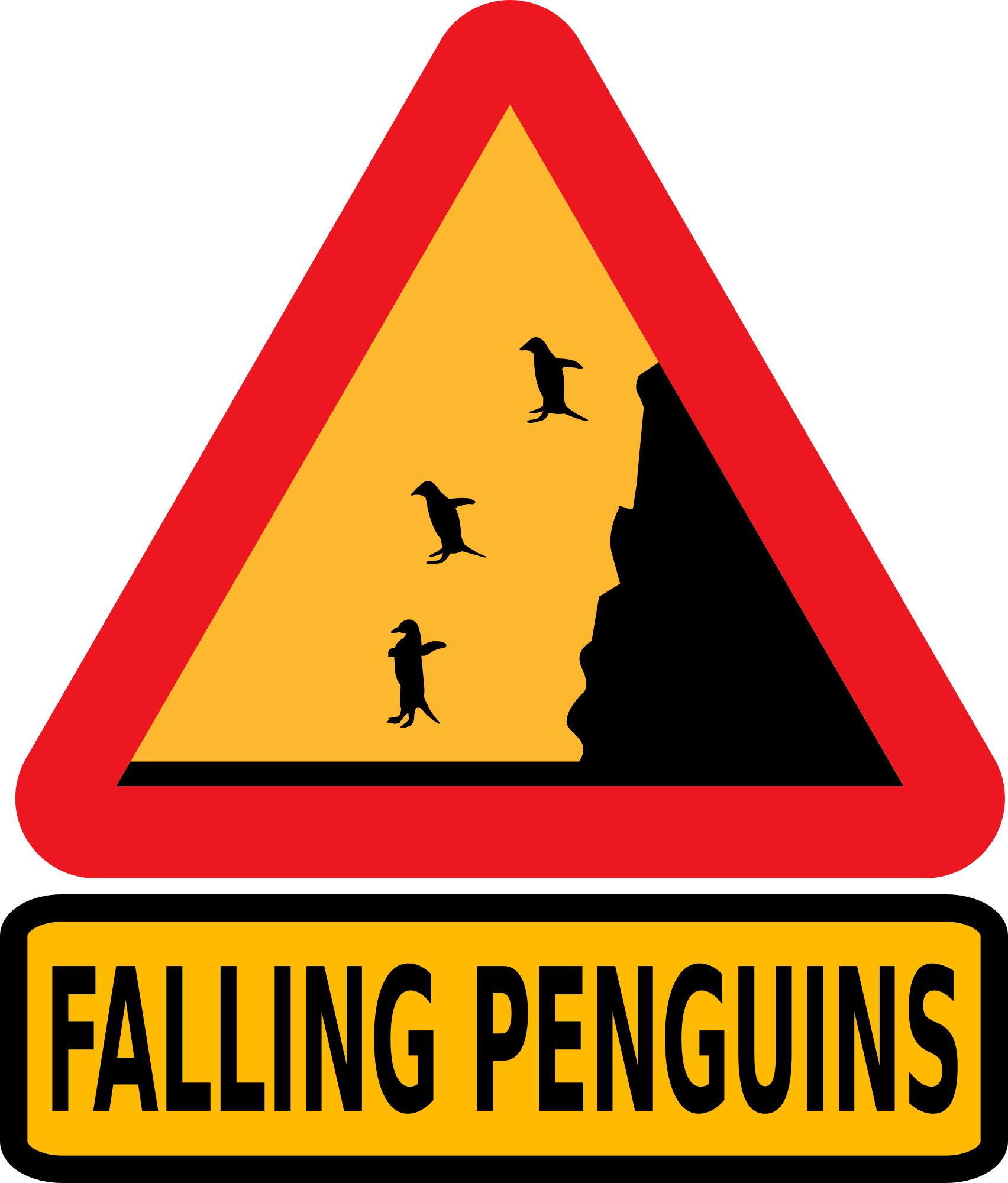 Warning Falling Penguins Clipart png free, Warning Falling Penguins transparent png