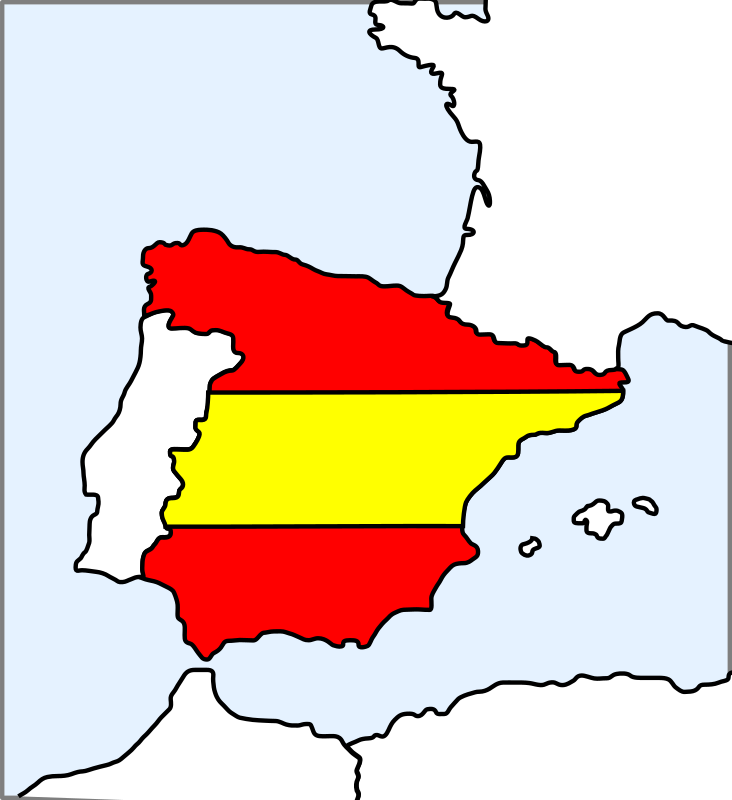 Spain (Map And Flag) Clipart png free, Spain (Map And Flag) transparent png
