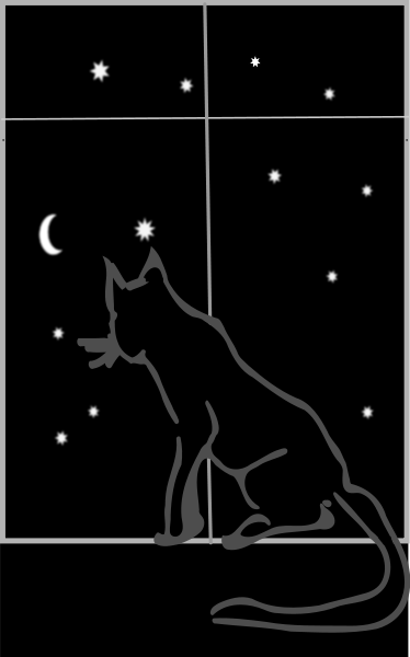 Black Cat Sitting By The Window At Night Clipart png free, Black Cat Sitting By The Window At Night transparent png