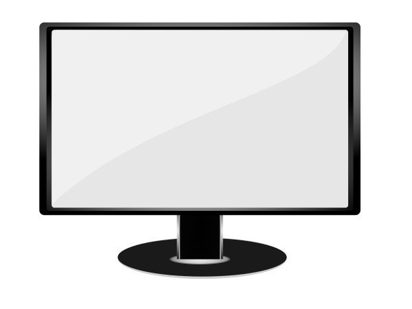 Monitor Black White Clipart png free, Monitor Black White transparent png