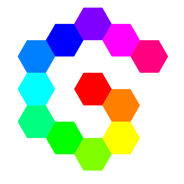 12 Hexagon Spiral Rainbow Clipart png free, 12 Hexagon Spiral Rainbow transparent png