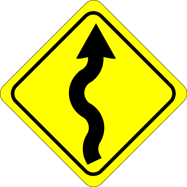 Curves Ahead Sign Clipart png free, Curves Ahead Sign transparent png
