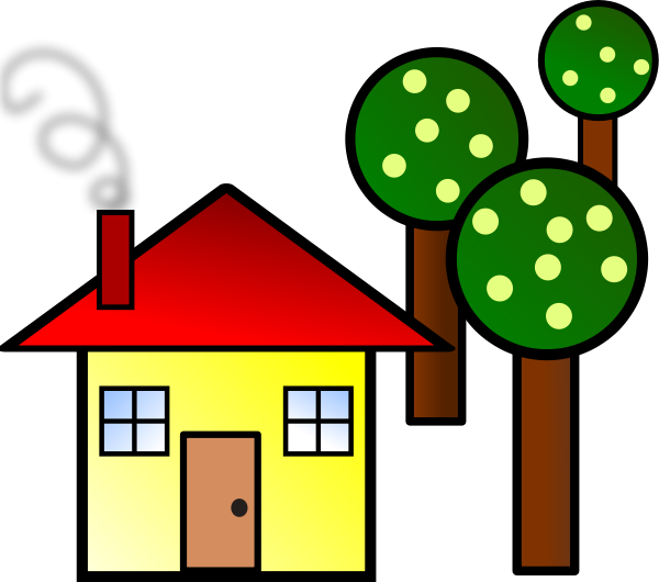 House With Trees Clipart png free, House With Trees transparent png