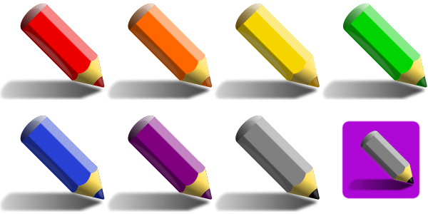 7 Color Pencils Clipart png free, 7 Color Pencils transparent png