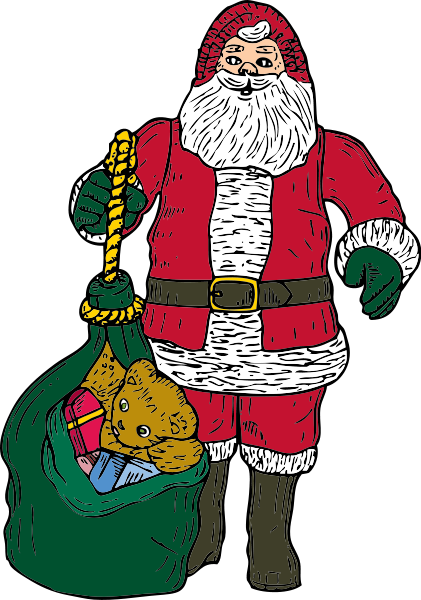 Santa And Bag Clipart png free, Santa And Bag transparent png