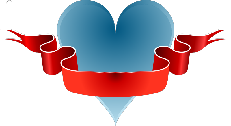 Heart & Ribbon Clipart png free, Heart & Ribbon transparent png