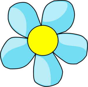 Turquoise Blue Flower With Yellow Center Clipart png free, Turquoise Blue Flower With Yellow Center transparent png