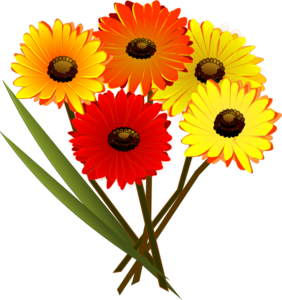 Red Orange Yellow Flowers Clipart png free, Red Orange Yellow Flowers transparent png