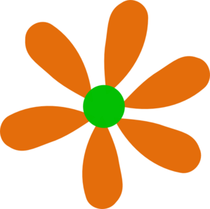 Orange-Green Daisy Clipart png free, Orange-Green Daisy transparent png