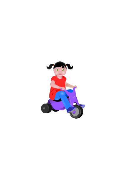 Toddler On Tricycle Clipart png free, Toddler On Tricycle transparent png