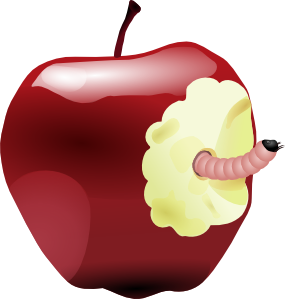 Apple With Worm Clipart png free, Apple With Worm transparent png