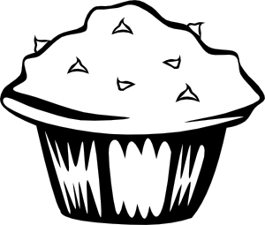 Double Chocolate Muffin (B And W) Clipart png free, Double Chocolate Muffin (B And W) transparent png