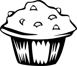 Blueberry Muffin (B And W) Clipart png free, Blueberry Muffin (B And W) transparent png