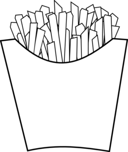French Fries Line Art Clipart png free, French Fries Line Art transparent png