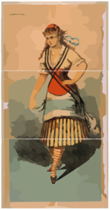 [Chorus Girl In Striped Skirt And Striped Socks] Clipart png free, [Chorus Girl In Striped Skirt And Striped Socks] transparent png