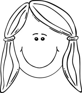 Smiling Girl Face Balck & White Clipart png free, Smiling Girl Face Balck & White transparent png