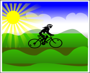 Sun Landscape With Girl Riding Bike Clipart png free, Sun Landscape With Girl Riding Bike transparent png