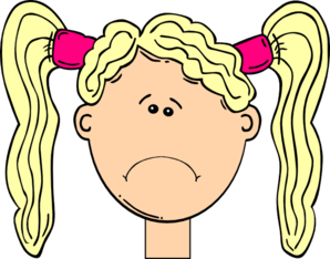 Sad Girl With Blonde Hair And Pigtails Clipart png free, Sad Girl With Blonde Hair And Pigtails transparent png