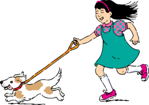 Girl Walking Dog Clipart png free, Girl Walking Dog transparent png