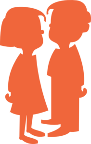 Boy Girl Silhouette Orange Clipart png free, Boy Girl Silhouette Orange transparent png