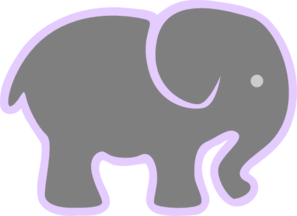 Grey Elephant With Lilac Clipart png free, Grey Elephant With Lilac transparent png