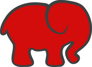 Red Gray Elephant Clipart png free, Red Gray Elephant transparent png