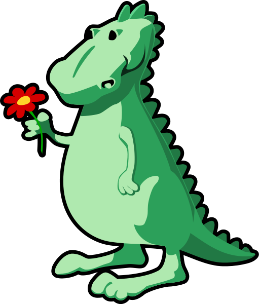 Dragon With Flower Clipart png free, Dragon With Flower transparent png