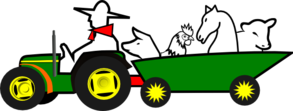 Green Tractor With Animals Clipart png free, Green Tractor With Animals transparent png