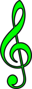 Green Treble Clef Clipart png free, Green Treble Clef transparent png