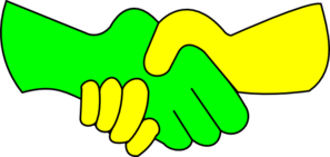 Green And Yellow Handshake Clipart png free, Green And Yellow Handshake transparent png