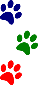 Paws Red Blue Green Clipart png free, Paws Red Blue Green transparent png