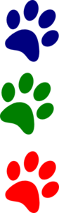 Paws Red Blue Green Straight Clipart png free, Paws Red Blue Green Straight transparent png
