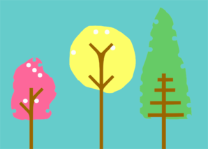 Colorful Patterned Trees Clipart png free, Colorful Patterned Trees transparent png