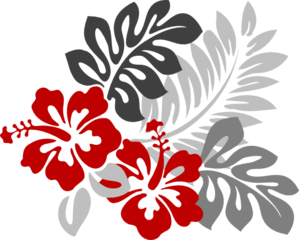 Red And Grey Hibiscus Clipart png free, Red And Grey Hibiscus transparent png