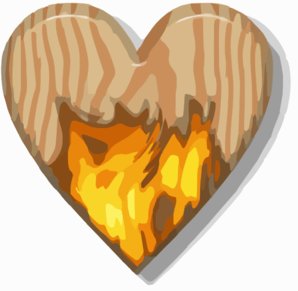 Flaming Wooden Heart Clipart png free, Flaming Wooden Heart transparent png