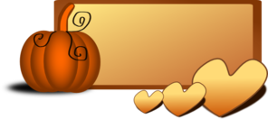 Pumpkin With Hearts Banner Clipart png free, Pumpkin With Hearts Banner transparent png