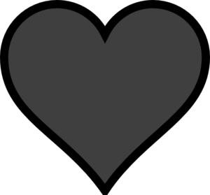 Grey Heart Black Outline Clipart png free, Grey Heart Black Outline transparent png