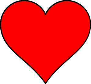 Red Heart With Thin Black Outline Clipart png free, Red Heart With Thin Black Outline transparent png