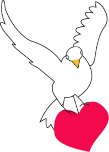 White Dove With Heart Clipart png free, White Dove With Heart transparent png