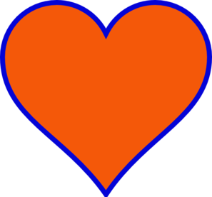 Orange & Blue Heart Clipart png free, Orange & Blue Heart transparent png