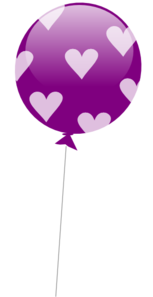 Purple Balloon With Hearts Clipart png free, Purple Balloon With Hearts transparent png