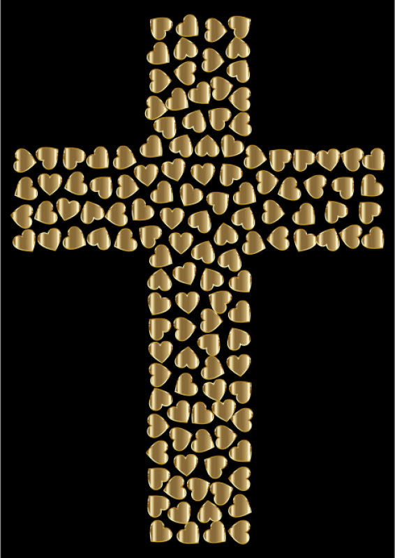 Gold Hearts Clipart png free, Gold Hearts transparent png
