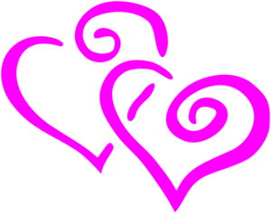 Hot Pink Intertwined Hearts Clipart png free, Hot Pink Intertwined Hearts transparent png