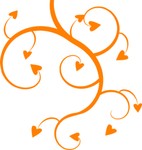 Orange Heart Tree Clipart png free, Orange Heart Tree transparent png