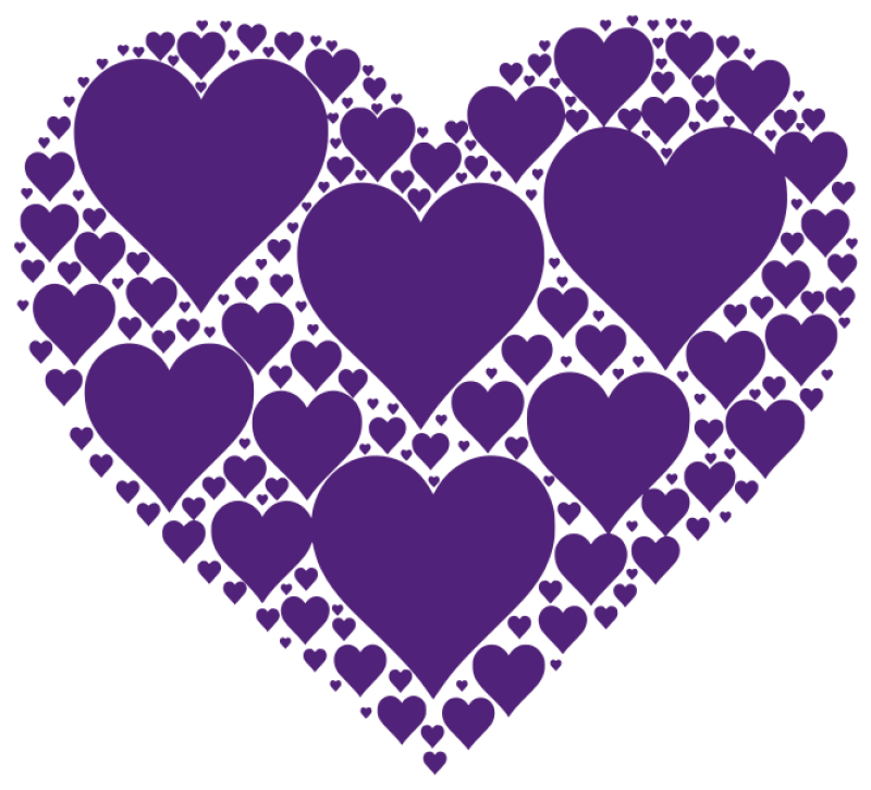Purple Hearts Clipart png free, Purple Hearts transparent png