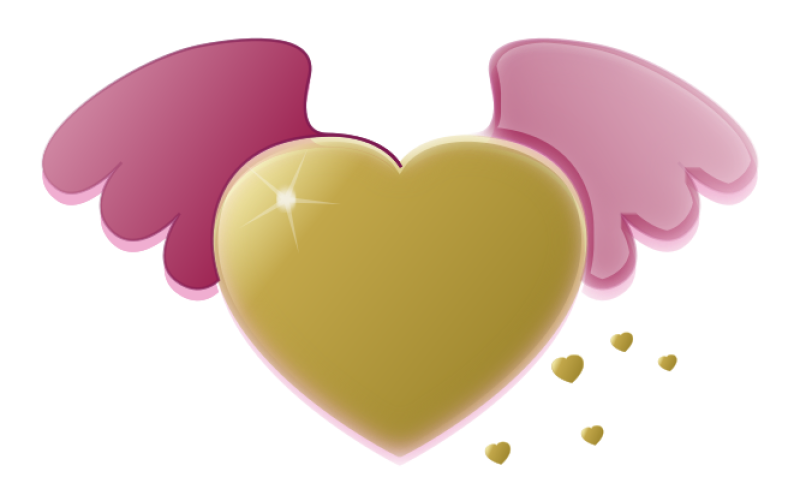 Wings N Pink Heart Clipart png free, Wings N Pink Heart transparent png