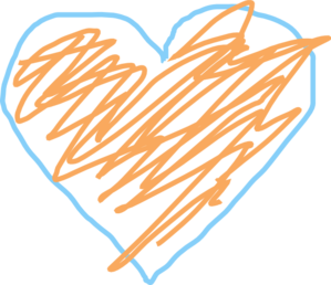 Blue And Orange Heart Clipart png free, Blue And Orange Heart transparent png